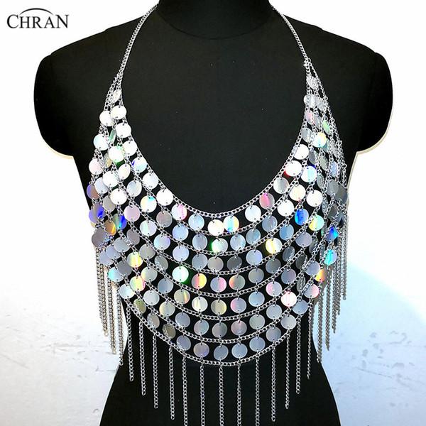Chran Holographic Sequin Bead Crop Top Chain Crystal Choker Necklace Halter Bra Bralette Bikini Wear Party Festival Body Jewelry