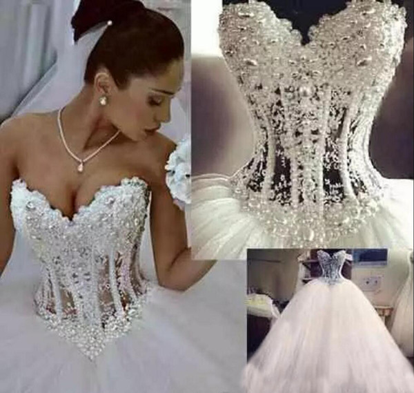 Beaded Pearls Tulle Ball Gown Wedding Dresses Court Train Sheer Bodice Lace Up Crystals A Line Bridal Gowns Custom Made Vestidos De Novia