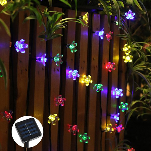 Cherry Peach Blossom Flower LED Solar Powred Fariy String Light 7M 50leds Outdoor Party Christmas New Year Birthday Decoration