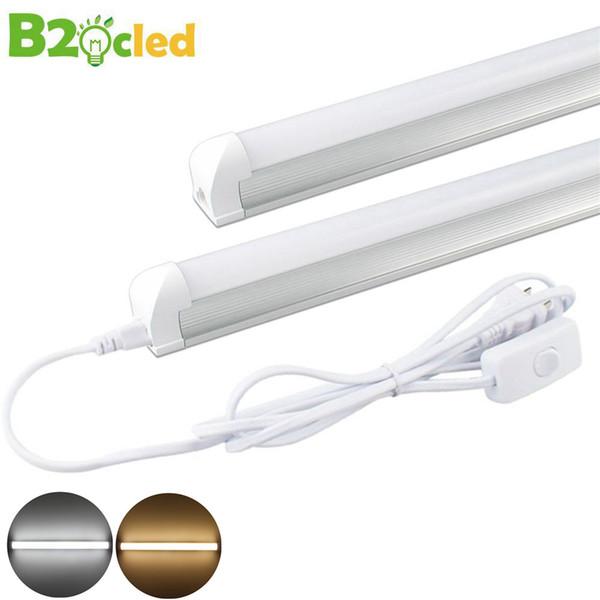 LED-Röhren-Licht T8 integrierte 0.6m 9W mit EU-Schalter-Verbindungsstück-LED Birnen-Rohr 48LED 2835 Licht 110V 220V 85-265V warmes Weiß