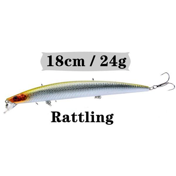 1PCS 18cm/24g Minnow Fishing Lure Artificial Make Quality Porfessional Bass Crankbait Wobbler Fishing Tackle 10 Colors Available Y18100906