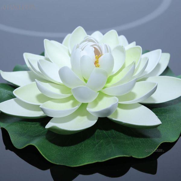 Decoraciones artificial seca artificial blanca hoja de loto falso Nenúfar decoración plantas flores flores de la boda mariage los 28CM Ponds wa ...