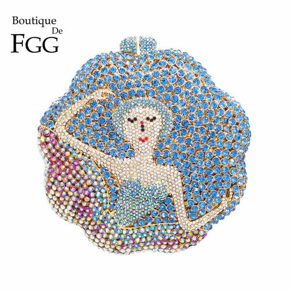 Boutique De FGG Ballet Dancer Beauty Rhinestones Diamond Handbags and Purse For Women Evening Purse Bridal Party Crystal Clutch
