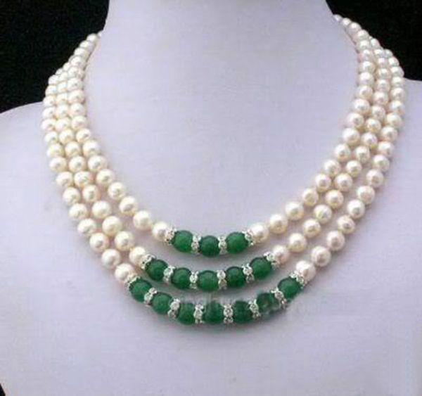 3 Reihen 7-8 MM Reale Weiße Akoya-zuchtperlen Grüne Jade Anhänger halskette Kostenloser Versand