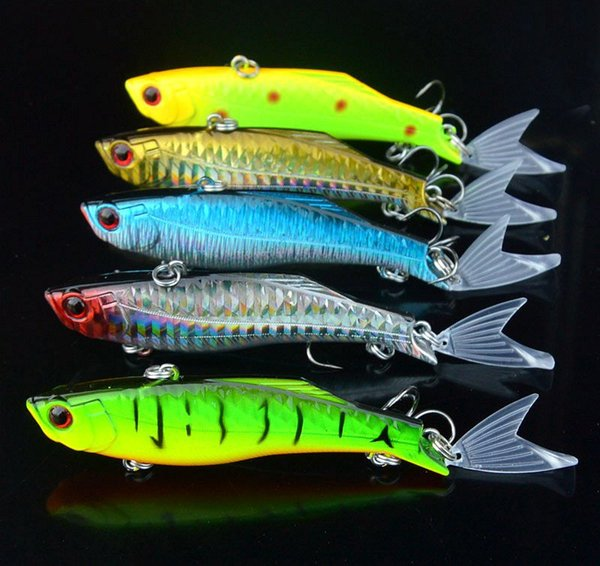 New Fishing vib Lure 23g Transparent Tail Hard Bait Artificial Lures Vibration Fishing Tackle Clear Fish Tails