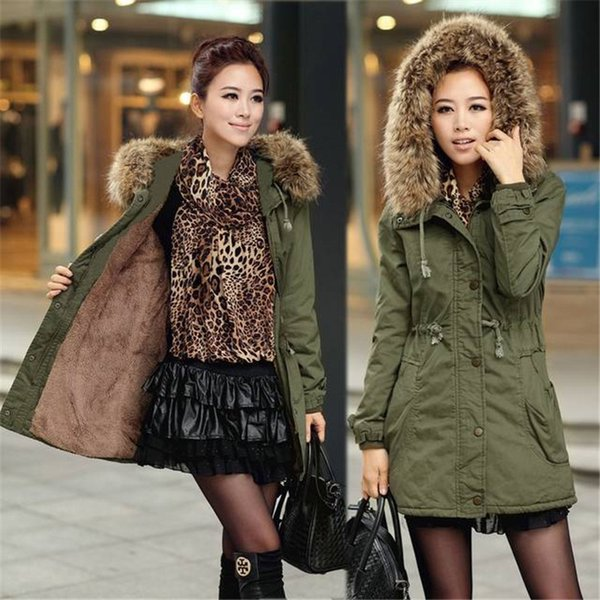Fashion New style Winter Warm Jacket Long Sleeve Outerwear Solid Black Green Women Coats Size Size S-3XL