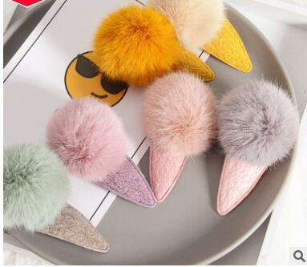 Kids Plush ball hair clips cartoon venonat mink hair bulb barrettes 2018 new christmas party gifts white pink green blue purple 6-7cm 592