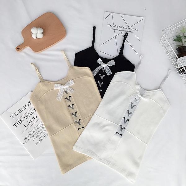Sommer Frauen Slim Stretchy Cropped Bow Tank Tops Weibliche Camis Sleeveless Solide T-shirts Crop Tops Für Mädchen 2018