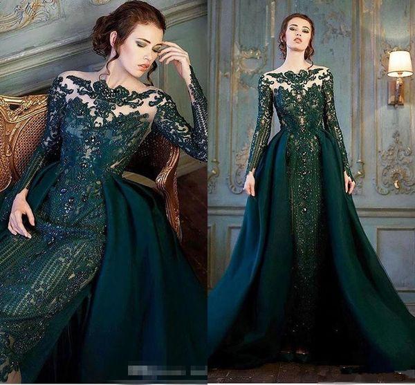 Modest Emerald Hunter Green Vestidos de fiesta de manga larga con tren desmontable Lujo encaje con cuentas Sirena Vestido de noche Vestido