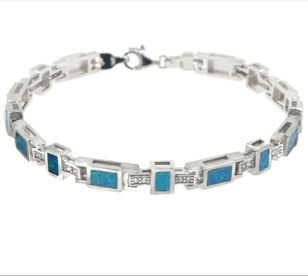 Blue Fire Opal Tennis Bracelet 925 Silver Stamped Charm Blue Blockage Bracelets Women Fashion Bracelets Fine Opal Jewelry