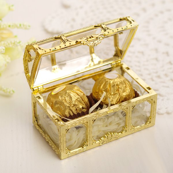 Free shipping top grade golden silvery transparent plastic treasure chest wedding candy box gift boxes 75*52*50mm Factory wholesale LX0925