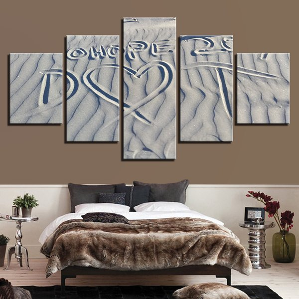 Modular Pictures Wall Art Poster 5 Pieces Sand Beach Love Heart Canvas Prints Paintings Modern Home Living Room Decor Framework