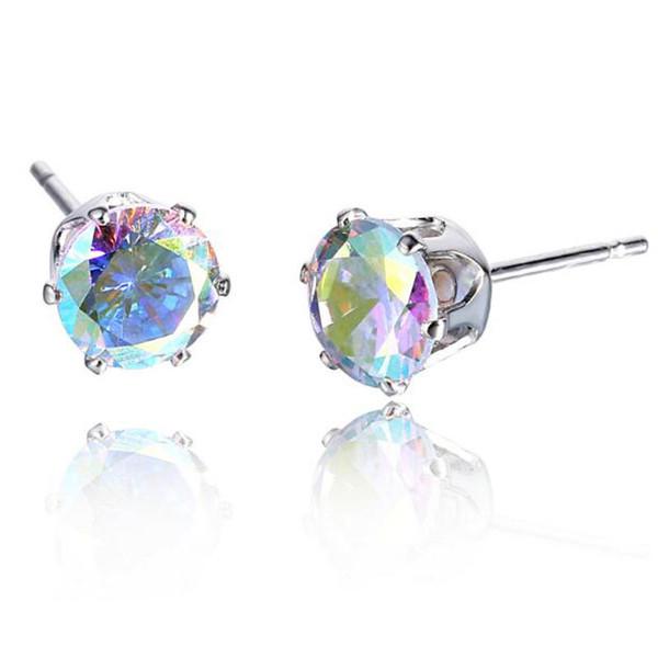 19 Colors Six-claw Earring 6MM White Silver Plated Ear Studs Earring For Women Crystal Zircon Earrings Wedding Gift Earring Jewelry