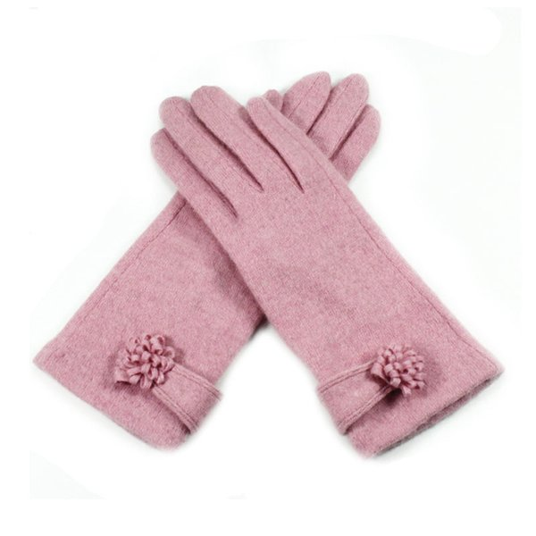 300PAIRS / LOT Fashion Cashmere Warm Winter Gloves for Women Solid Color Keep Warm Floral Screen Gloves