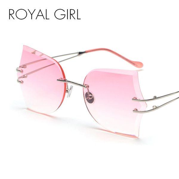 ROYAL KıZ Rimless Kadınlar 2018 için Güneş Gözlüğü Yeni Kelebek Çerçeve Kesme Lens Moda Yüksek Kaliteli Shades Güneş Gözlükleri ss201