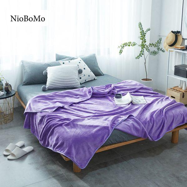 Niobomo Purple Blanket Elegant Comfortable Throws Coral Fleece Bedspread For Sofa/Bed/Home 5 Size Blanket 1pcs