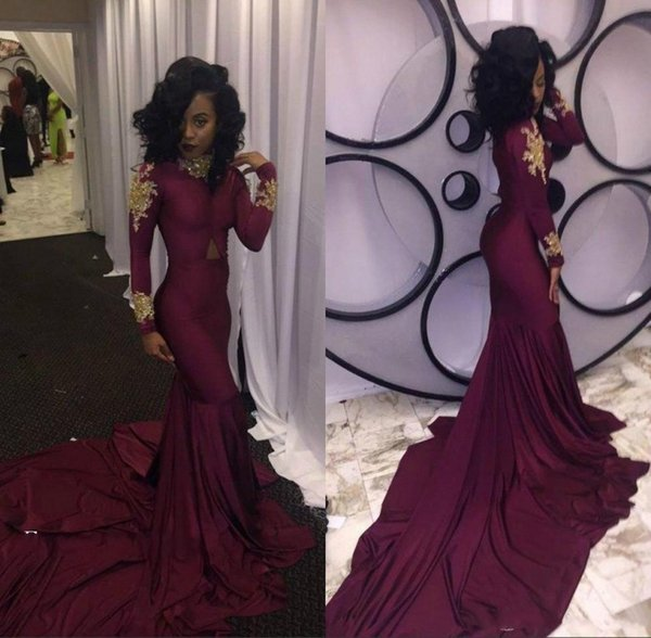Hot Sale 2K18 Burgundy Prom Dress for Black Girls Long Sleeve Gold Appliques Sexy South Party Dress African Formal Evening Gown