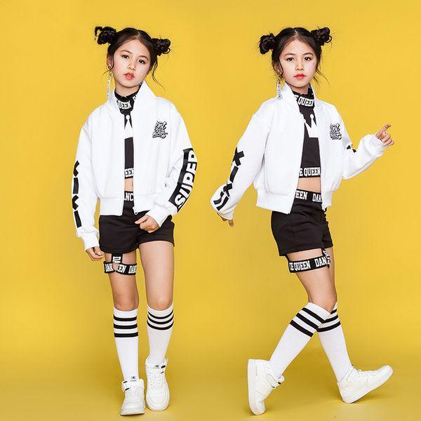 Disfraces de danza del jazz Niñas Niños Disfraz de Hip Hop Ropa para niños Street Dance Show Stage Chaqueta blanca Chaleco negro Shorts DN1740