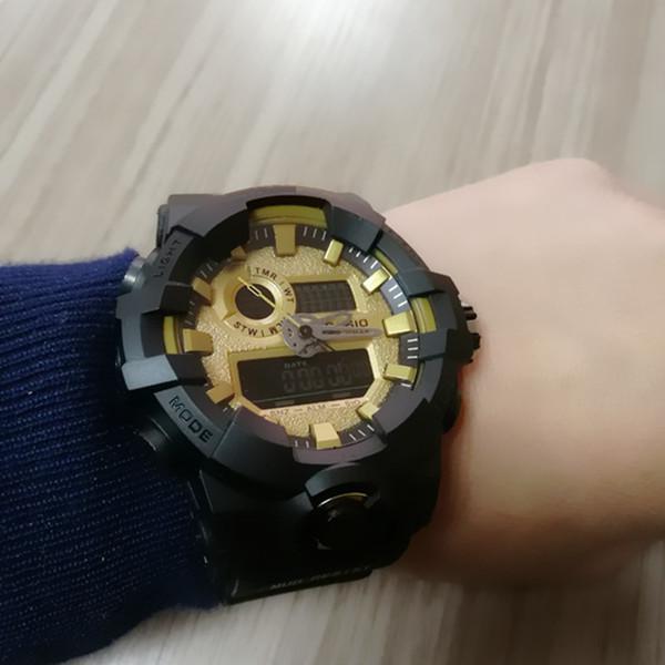 Mens New 2019 G Style Shock Uhren Edelstahl Zurück Kautschukband Quarz Armbanduhr Outdoor Led Digital Analog Clock Uhr Saat