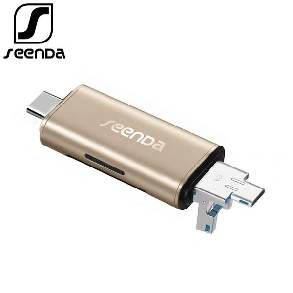 SeenDa All In 1 USB 3.0 Type-C Metal Card Reader High Speed SD TF Micro SD Card Reader Micro USB Multi Memory OTG Card Reader