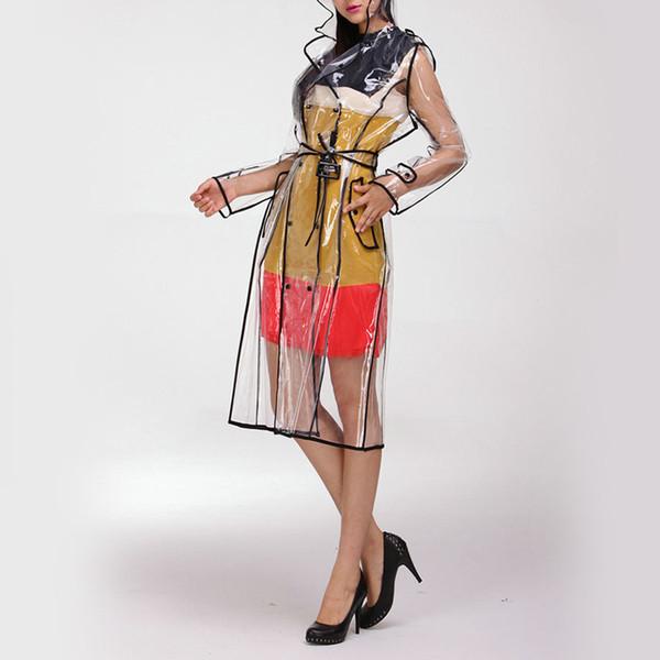 Mujeres impermeables impermeables de vinilo transparente EVA con cinturón pasarela transparente con capucha cortaviento hasta la rodilla ropa impermeable al aire libre