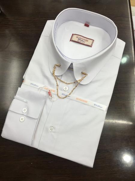 Ücretsiz kargo yeni stil yemek erkek gömlek erkek evli damat kırlangıç resmi elbise gömlek