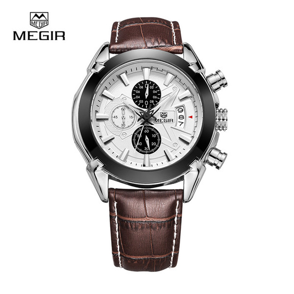 Megir Watch Mens Watches Top Brand Fashion Leather Sports Quartz Watch For Man Military Chronograph Wrist Watches Men Army Style S921