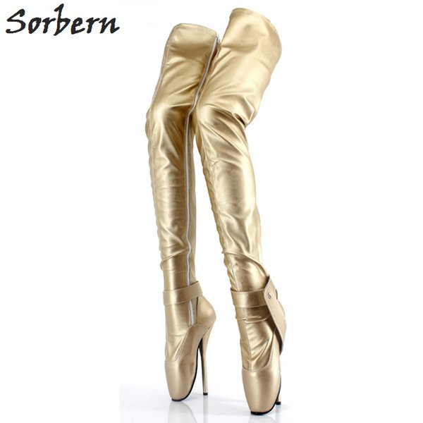 Sorbern Silver Sexy Fetish Boots Over The Knee Ballet Heels Locks Thigh High Boots For Women Shoes 2018 Women Shoes Size 12