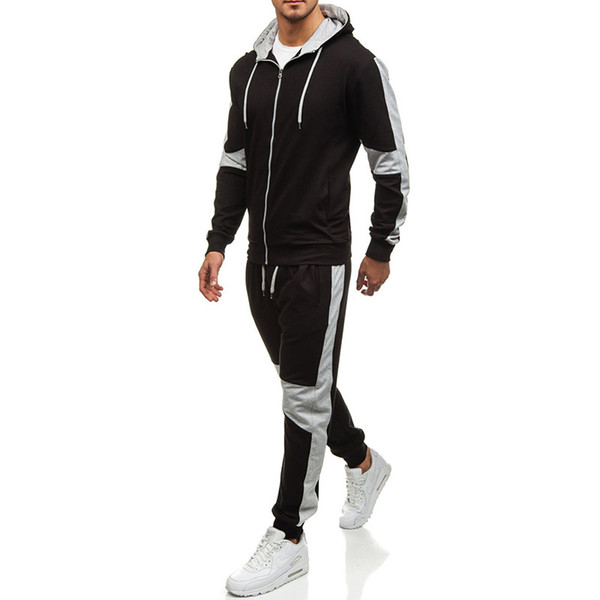 Mens Clothing Athletic Casual Cardigan Hoodie and Jogger Pants Sets 2pcs Suits Male Spring Autumn Tracksuits