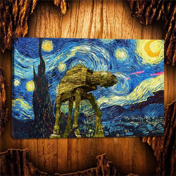 Oil Painting HD Print,Vincent Van Gogh Starry Night ,Wall Art Decor for Living Room Home Modern Decoration Framed/Unframed