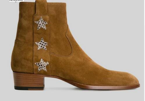 Brown Suede leather Boots High end real leather boot British Style Men Short star Boots zip up 4cm heel men's boots
