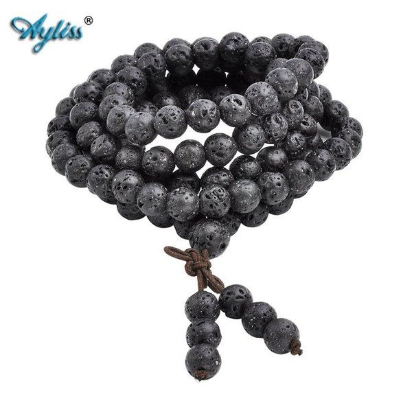 Ayliss Hot Wholesale 6mm 8mm Natural Lava Rock Stone Healing Gem Stone 108 Buddhist Prayer Beads Tibetan Mala Bracelet Necklace S915