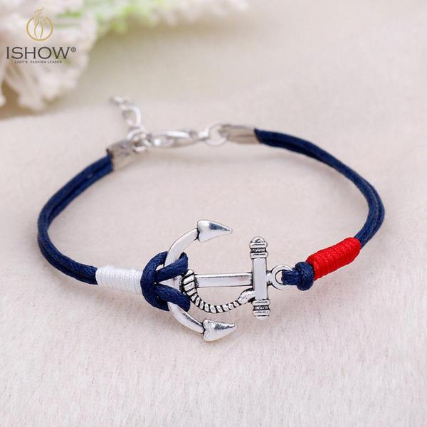 Moda navy vento vela piratas simples âncora pulseiras pulseiras tecidas