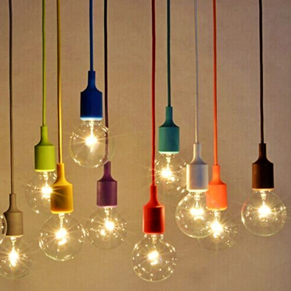 2019 Diy E27 Chandelier Light Fixture Hanging Line Colorful Silicone