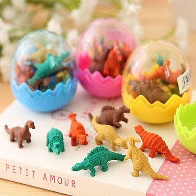 8Pcs/Pack Novelty Mini Kawaii Dinosaur Egg Pencil Rubber Eraser with egg Erasers Students Stationary Gift Creative gift free shipping