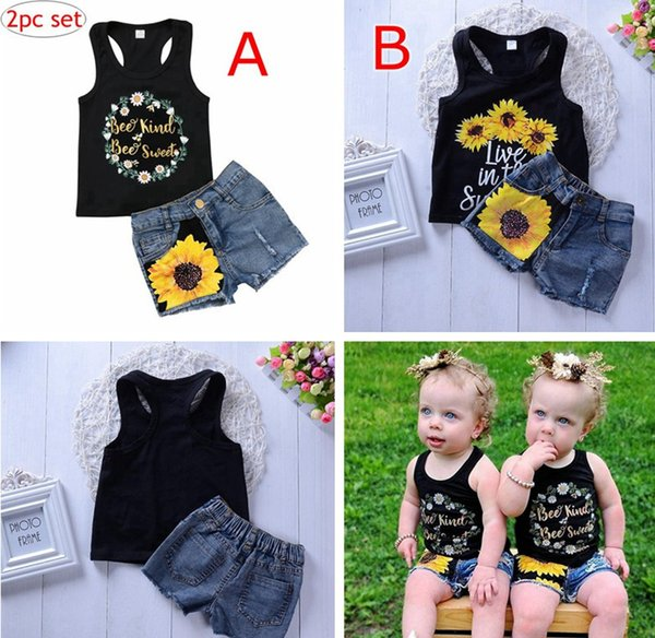 8af3b2d7c INS New Fashion Toddler Kids Girl Summer Clothes Sleeveless Floral Vest Tops  + Boys Sunflower Ripped