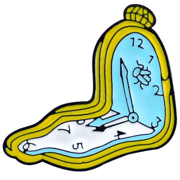 Мультяшный дизайн Часы Брошь Часовая стрелка Минутная стрелка Одноразовый пробег эмали Булавка Джинсовая шапка Значок Друзья и детские подарки