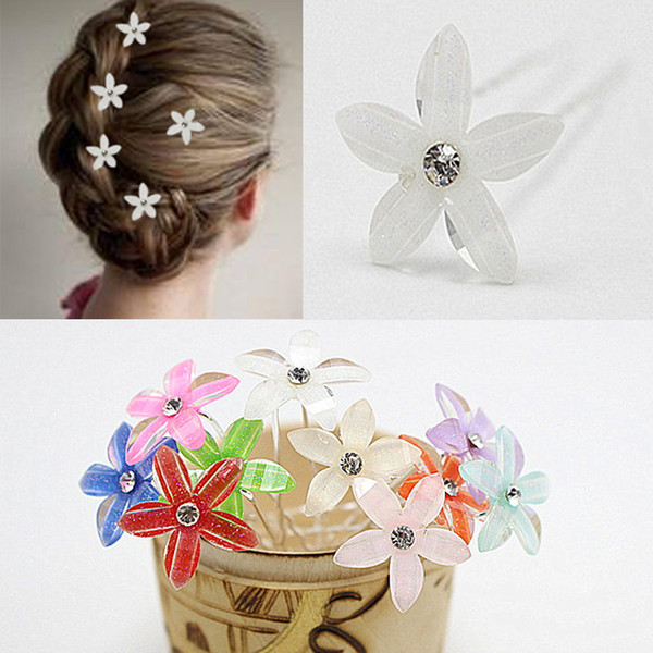 5pc/lot Women Wedding Fancy Hairstyles Jewelry Colorful Crystal Flower Hairpins Headpiece U Shaped Bulk Hair Pins Clips HP088