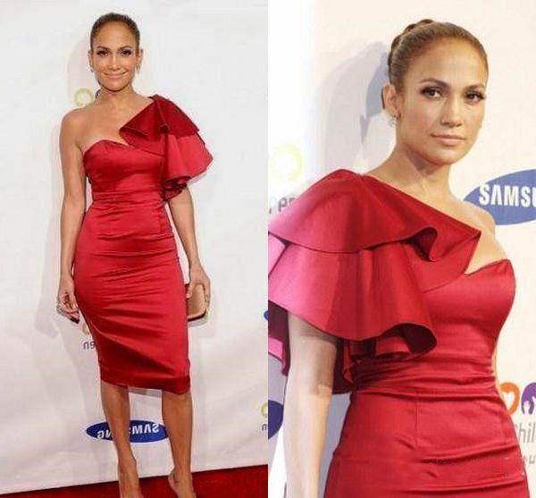 Compre Jennifer Lopez Vestidos De Noche Cortos Rojos Vestidos De Cóctel De Raso Hasta La Rodilla Sin Mangas Vestidos De Fiesta De Celebridades