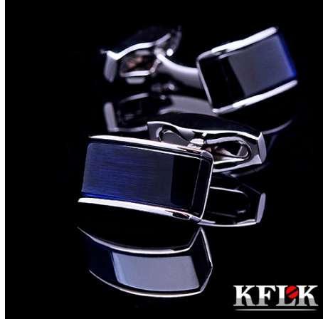 KFLK Mens için Lüks Yeni gömlek kol düğmeleri Marka manşet düğmeleri manşet bağlantılar Mavi gemelos Yüksek Kalite abotoaduras Takı
