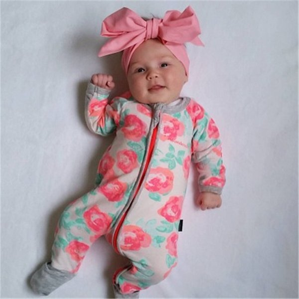 New spring&autumn 2018 INS baby girls rose printing cotton clothes long sleeve zipper Romper Jumpsuit Outfits floral b b fille full size