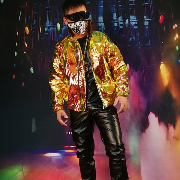 M-XXXXL 2018 personnalité des hommes de la mode des hommes laser orange veste en cuir or DJDS costumes vêtements de scène, plus la taille