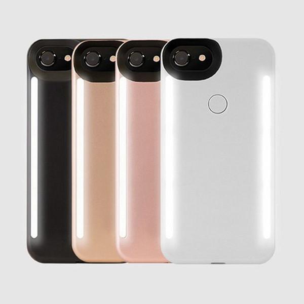 LED cas de téléphone selfie lumière flash lumineux téléphone cas de couverture arrière pour iphone 8 x 6 6 s 6 7 plus bord funda coque
