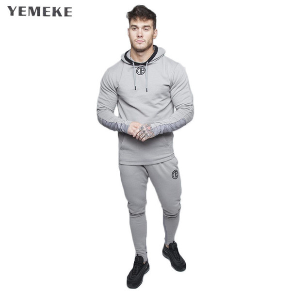 Fashion Suit Running Men Clothing Set Gym Sportwear Tracksuit Fitness Body building Mens Hoodies+Pants Suit Jogger Men Set