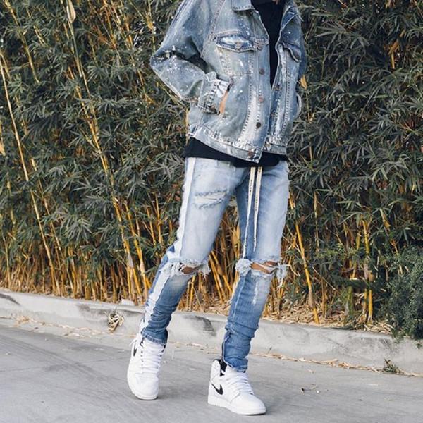 Ginocchio Foro laterale Zipper Slim Distressed Jeans Men justin bieber Strappato strappato jeans per uomo pantaloni a righe