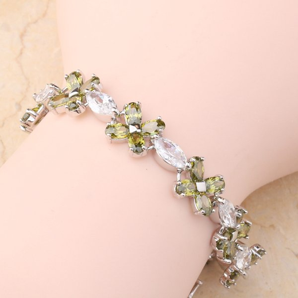 Flower Green Peridot White Cubic Zirconia 925 Sterling Silver For Women Link Chain Bracelet 6 - 7 inch L10130