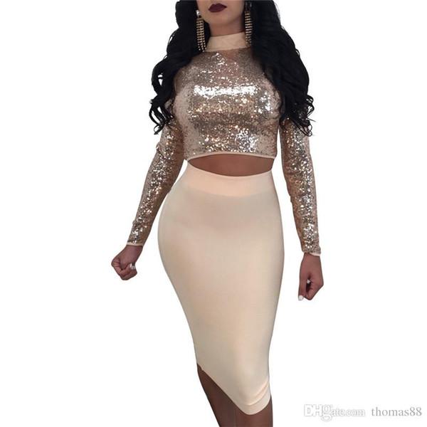 El envío libre al por mayor de las mujeres del collar del soporte de las lentejuelas ata para arriba la manga larga de la manera 2 pedazos del vestido del vendaje