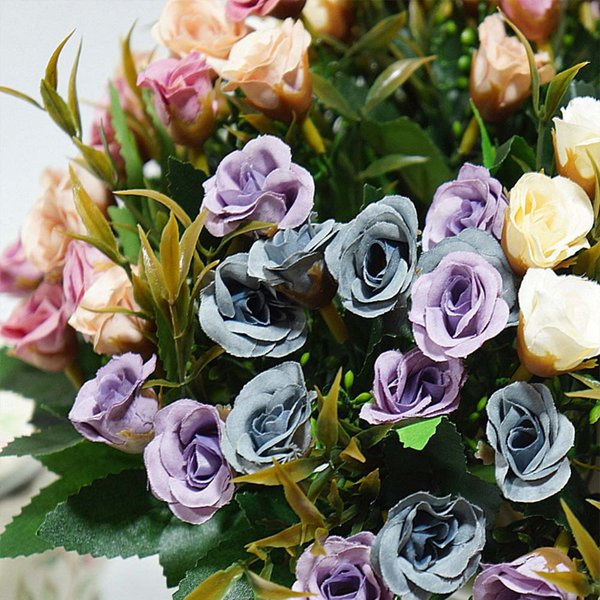 Acheter 20 Têtes Fleurs Artificielles Pas Cher Pour La Maison Pot De Fleurs  Ornemental Mariage Decora Diy Scrapbooking Faux Plantes Bouquet De Roses