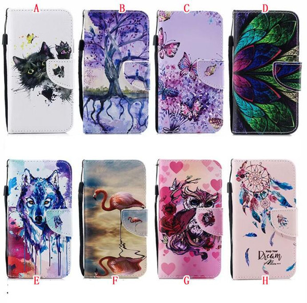 Flamingo Flower Leather Wallet Case For Iphone X 8 7 6 6S Plus 5 5S SE Redmi 4X 4A NOTE4 5A NOTE 5A Xiaomi 5X Dreamcatcher Wolf Tree Cover