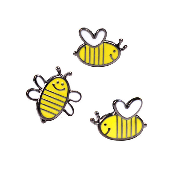 LASPERAL 2017 Cartoon Bee Enamel Pins Brooches Cute Badges Icons Clothes Accessories Fit Bags Brooch For Women